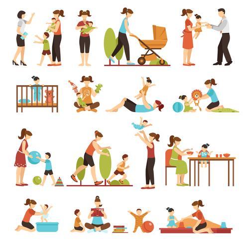 Babysitter Set piatto di icone colorate decorative vettore