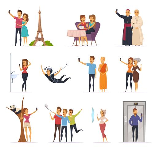 Set di icone selfie vettore