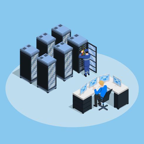 Composizione isometrica del data center vettore