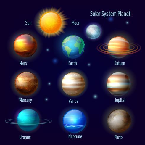 Pianeti del sistema solare vettore