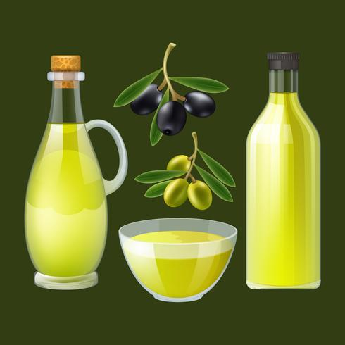 Bottiglia e versatore di olio d'oliva vettore