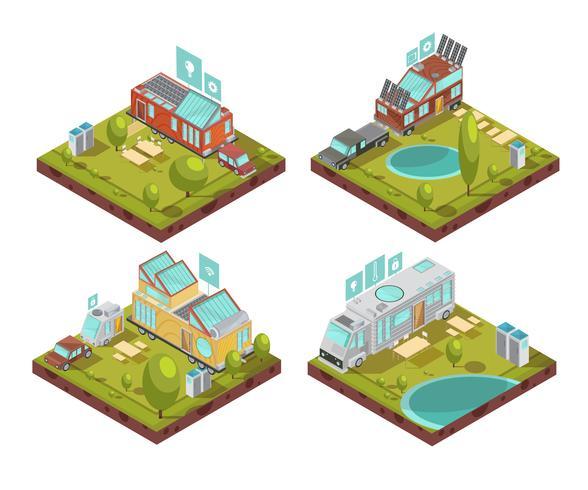 Composizioni isometriche di case mobili vettore