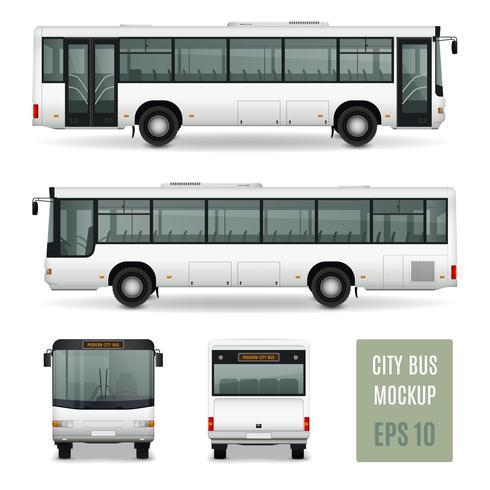 Modello di pubblicità realistica del bus della città vettore