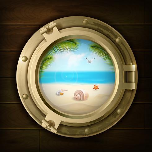 Fondo di estate nell'illustrazione dell'oblò della nave vettore