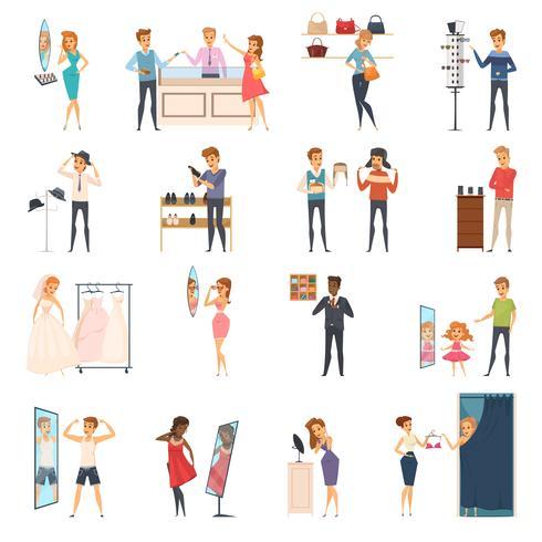 Set di icone piatto cercando negozio di persone vettore