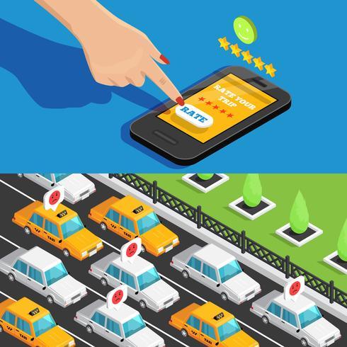 Bandiere isometriche di servizio di taxi app mobile vettore