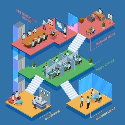 Illustrazione di ufficio isometrica vettore