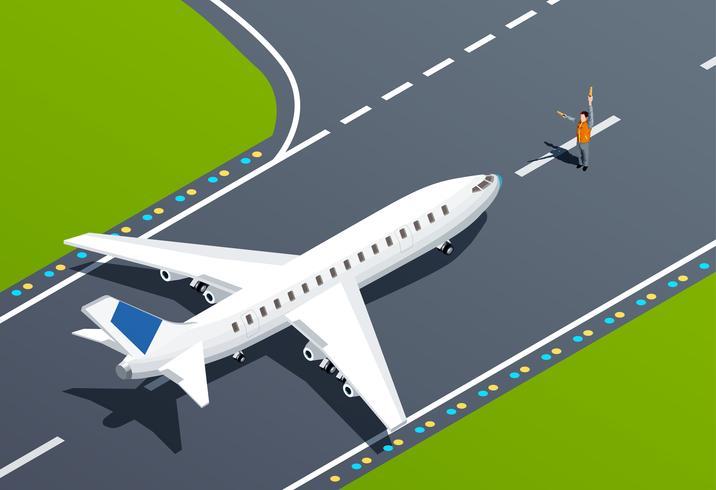 Illustrazione isometrica dell'aeroporto vettore