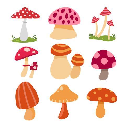 disegno di raccolta vettoriale di funghi