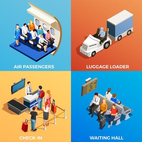 Gente isometrica all'aeroporto vettore