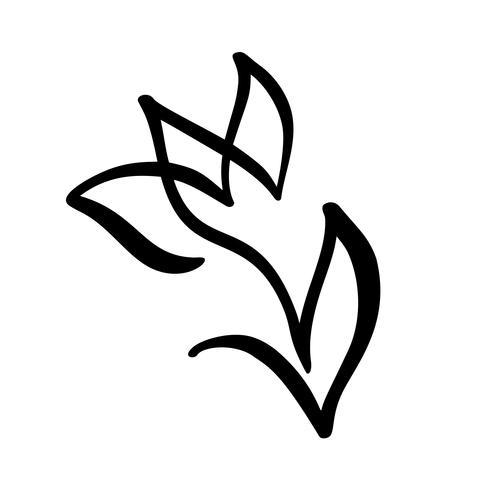Fiore di tulipano Linea continua mano disegno concetto di vettore calligrafico. Elemento di design del logo floreale di primavera scandinava in stile minimal. bianco e nero