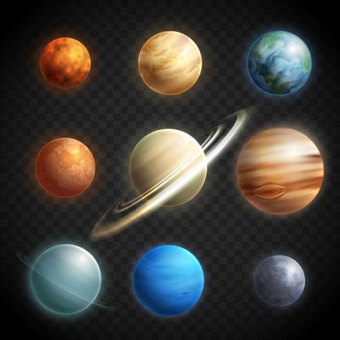 Set trasparente realistico di pianeti vettore