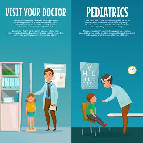 Banner verticale pediatra e bambino vettore