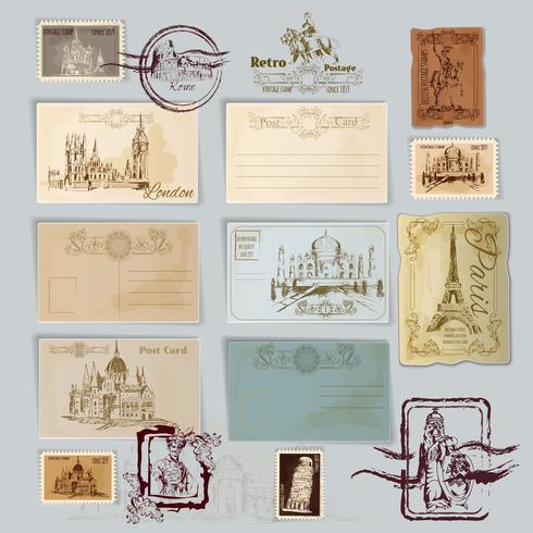 Set di cartoline d'epoca vettore