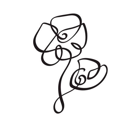 Mano di linea continua che disegna logo calligrafico di concetto del fiore di vettore. Elemento di design floreale primaverile scandinavo in stile minimal. bianco e nero vettore