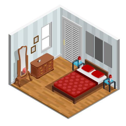 Disegno isometrico della camera da letto vettore