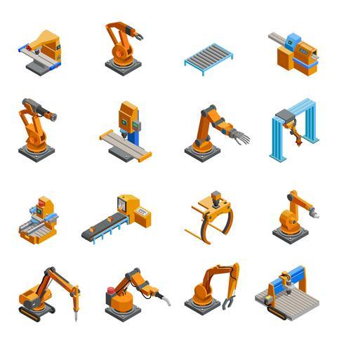 Set di icone isometriche robot braccio meccanico vettore