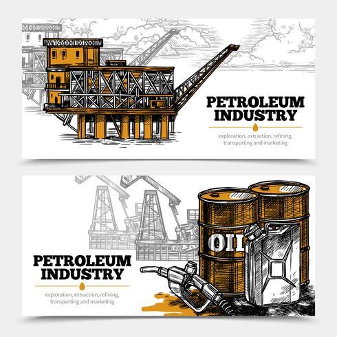 Banner orizzontale industria petrolifera vettore