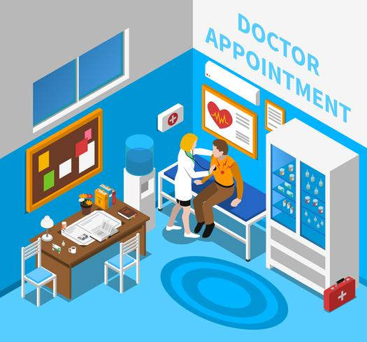 Medico esaminando paziente isometrica Poster vettore
