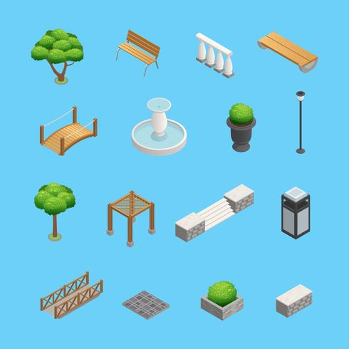 Landscaping elementi isometrici vettore