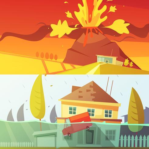 Banner di disastri naturali vettore