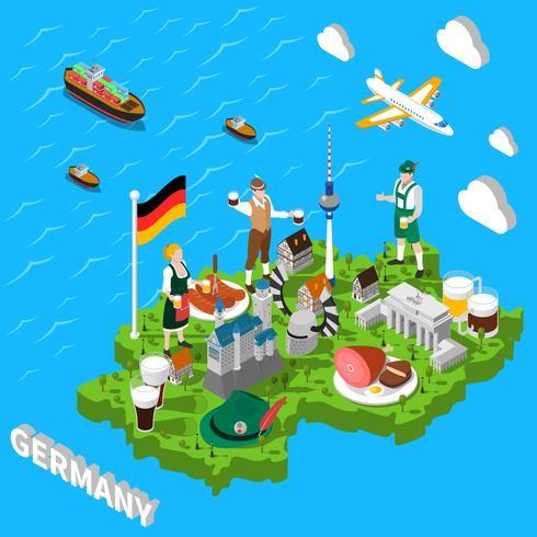 Mappa isometrica turistica della Germania per i turisti vettore