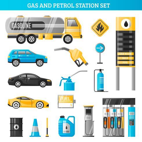 Set di benzina e benzina vettore
