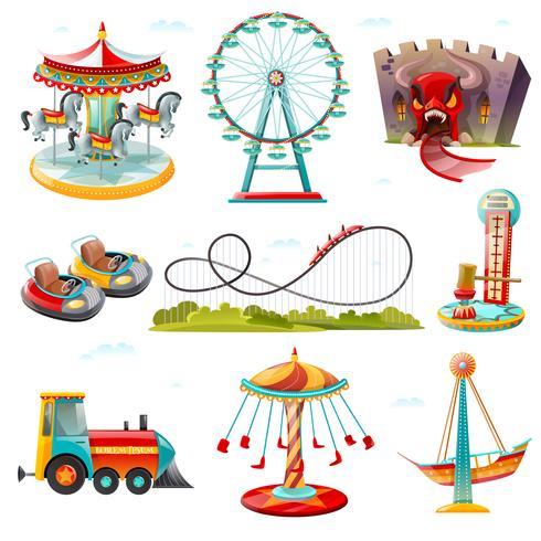 Set di icone piane di attrazioni parco divertimenti vettore