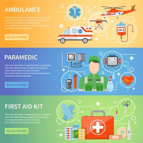 Banner orizzontale paramedico vettore