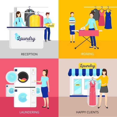 Set di icone di concetto di lavanderia vettore
