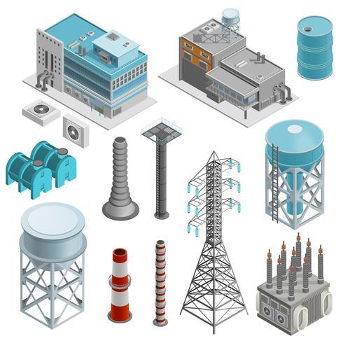 Set di icone isometriche di edifici industriali vettore