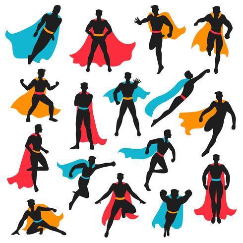Set di sagome di supereroi neri vettore