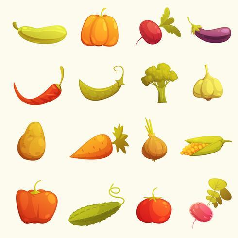 Le icone delle verdure hanno messo retro piano vettore