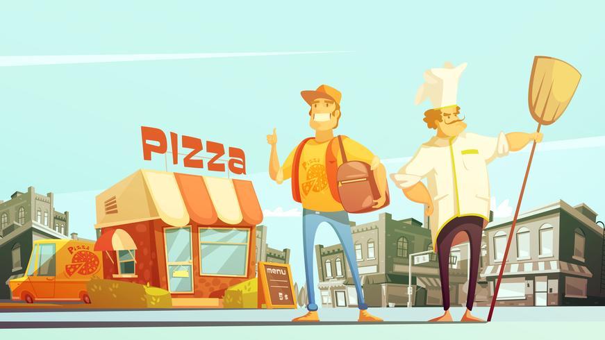 Illustrazione di consegna della pizza vettore