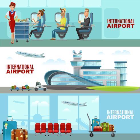 Banner orizzontale aeroporto internazionale vettore