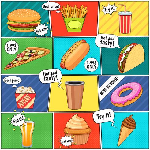 Poster di raccolta di pannelli di fumetti di fast food vettore