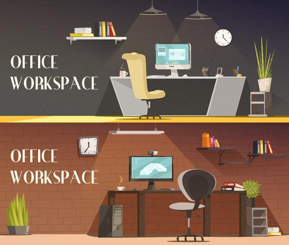 Office Workspace 2 Horizontal Cartoon Banners vettore