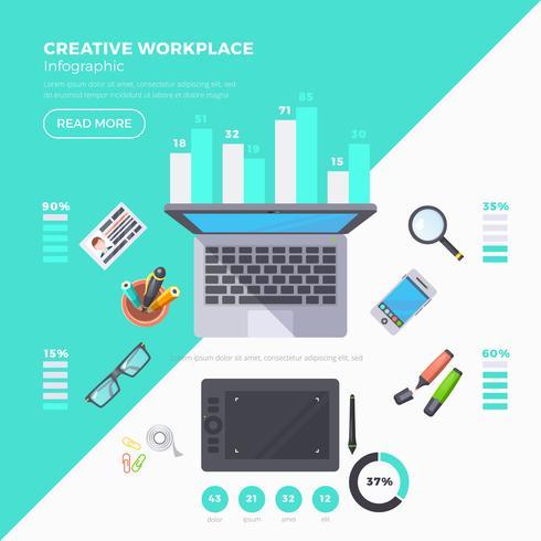 Set di infografica oggetti sul posto di lavoro vettore
