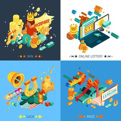 Set di icone di concetto di lotteria e jackpot vettore
