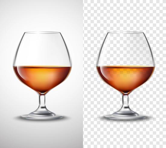 Bicchiere da vino con alcol trasparente banner vettore