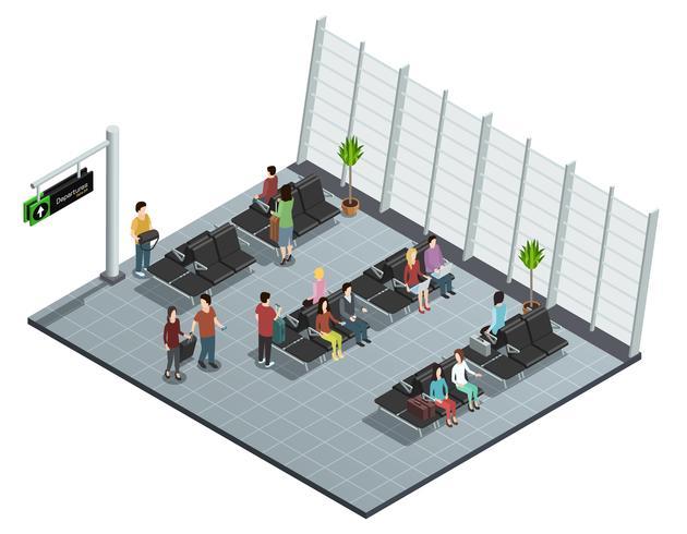 Composizione isometrica del salotto di partenza dell'aeroporto vettore