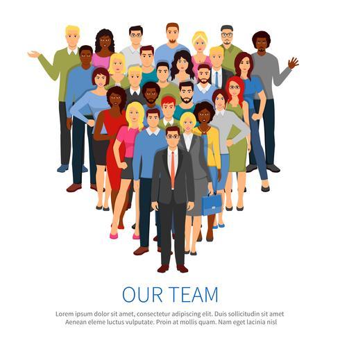 Folla Professional People Team Flat Poster vettore
