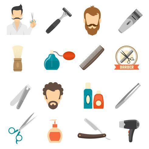 Icone di colore del barbiere vettore