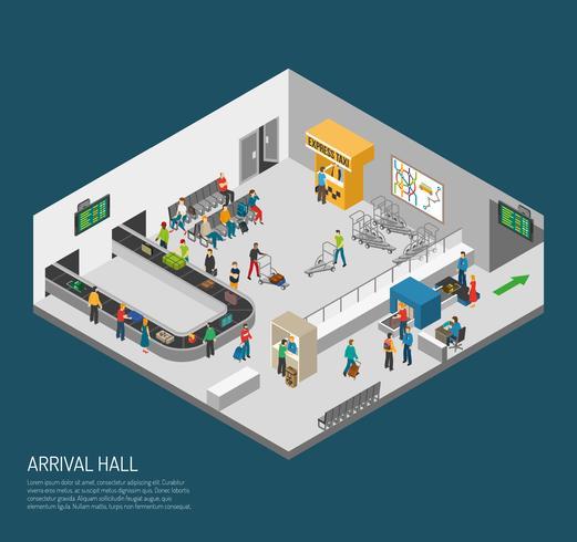Poster dell'aeroporto di Hall di arrivo vettore