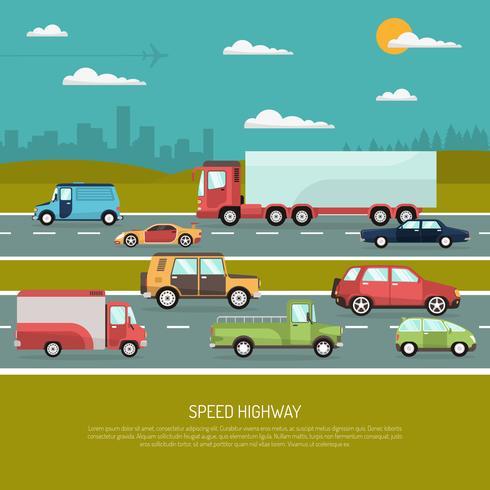 Illustrazione della strada principale di velocità vettore