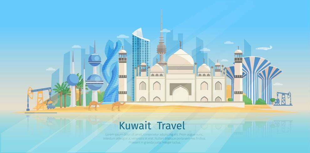 Poster piatto Skyline del Kuwait vettore