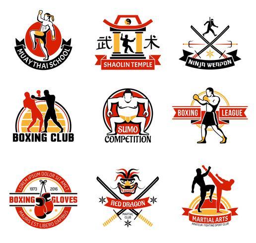 emblemi colorati di martial di club vettore