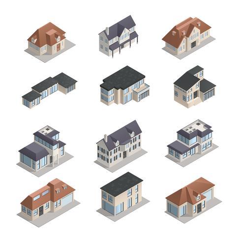 Set casa suburbana isometrica vettore