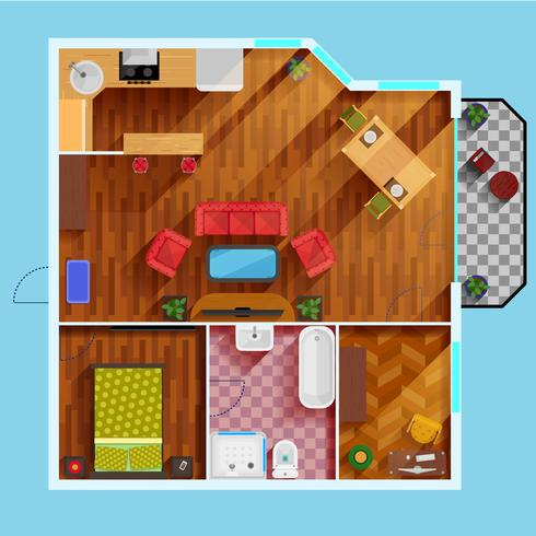 Planimetria dell'appartamento con una camera da letto vettore