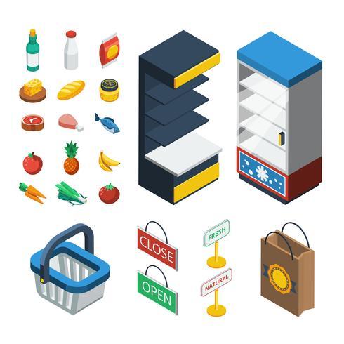 Set di icone isometrica supermercato vettore